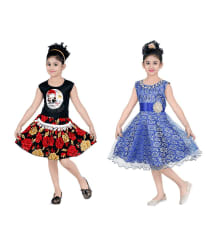 Dixita Festive and Party Wear Stylish Blue and black Frocks- Pack of 2