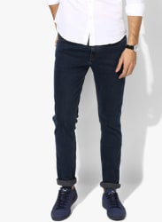 Navy Blue Solid Slim Fit Jeans