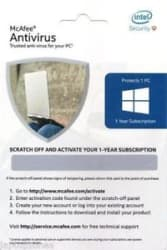 McAfee Antivirus for 1 PC - 1Year with 1 Year Activation Code by only e-mail