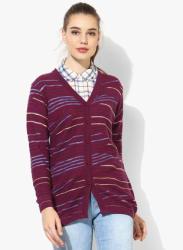 Magenta Striped Cardigan