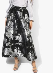Black Textured A-Line Skirt