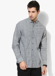 Grey Printed Regular Fit Casual Shirt