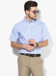 Blue Checked Regular Fit Formal Shirt