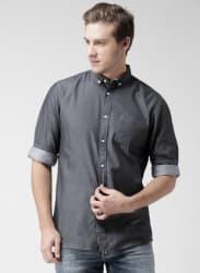 Charcoal Grey Regular Fit Casual Shirt