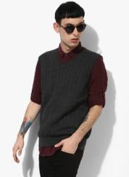 Dark Grey Textured V Neck Sweater