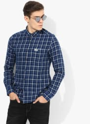 Blue Checked Slim Fit Casual Shirt