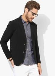 Black Solid Regular Fit Blazer
