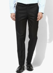 Black Solid Regular Fit Formal Trouser
