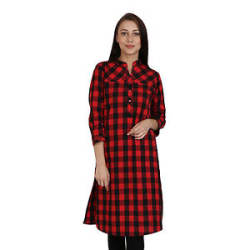 Vipakshi Women s Black Red Checkered Printed Cotton Kurti (HR-2400 I)