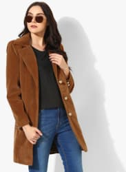 Brown Solid Long Coat