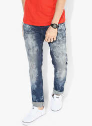 Blue Washed Washed White Low Rise Skinny Fit Jeans