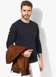 Navy Blue Solid Regular Fit Sweatshirt
