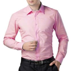 Being Fab Men s 100% Cotton Solids Baby Pink Casual Shirt (BFBBPNKSHT02)