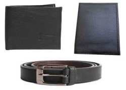 Faux Leather combo of Wallet and Belt and card PU Leather Card Holder in Black