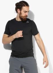 Wor Activchill Tech Black Solid Round Neck T-Shirt