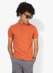 Orange Printed Regular Fit Polo T-Shirt