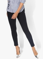 Navy Blue Solid Mid Rise Skinny Fit Jeans