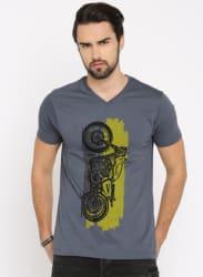 Grey Printed V Neck T-Shirt