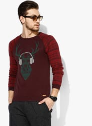 Wine Printed Sweater