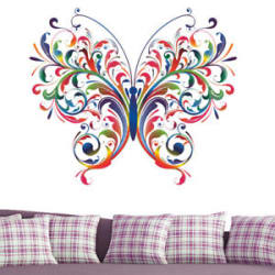 Colorful Big Butterfly Love Wall Stickers 5063