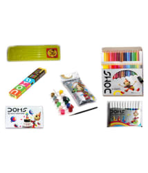 COMBO PACK OF DOMS NEON RUBBER TIPPED PENCIL + DOMS FULL SIZE 24 COLOUR PENCILS + DOMS 12 SKETCH PENS + DOMS 12 WAX CRAYONS + DOMS TEMPERA COLOURS 12 SHADES + 1 POUCH