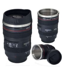 Tick Tock Black Camera Lens Shaped Tea/ Coffee Mug for Hiking & Camping