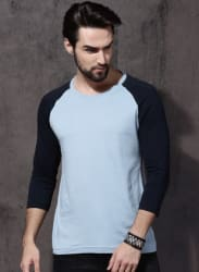 Blue Solid Round Neck T-Shirts