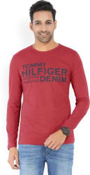 Tommy Hilfiger Typography Men Round or Crew Red T-Shirt
