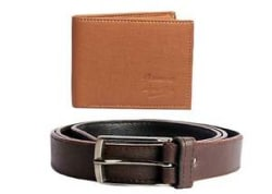 Faux Leather Wallet and Belt in Brown Color at lowest price