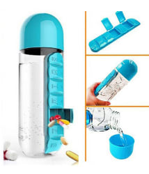 K kudos Enterprise 600Ml Pill Box Organizer with Water Bottle (Weekly Seven Compartments) for Hiking & Camping