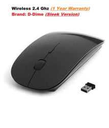 D-Dime 2.4Ghz Wireless Sleek Optical Mouse (Black)