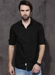 Black Regular Fit Solid Casual Shirt
