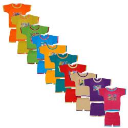 Baby Boys Half Sleeves Folding Type Printed 10 Tops Matching 10 Shorts (Joy_10 Sets)