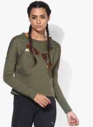India Cropped Olive Sweat Shirt