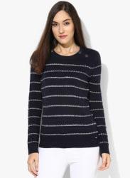 Navy Blue Striped Sweater