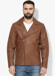 Brown Solid Casual Jacket