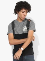 Black Textured Regular Fit V Neck T-Shirt