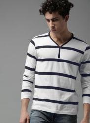 White Striped V Neck T-Shirt