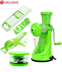 PREMILLIA Premium Plastic Kitchen Tools Combo of Manual Juicer + 6 in 1 Slicer + Multi Crusher and Vegetable Cutter & Peeler