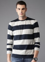 Grey Melange Striped Round Neck T-Shirt
