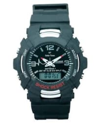 SPORTS WATCH MEN S DUAL TIME ANALOG AND DIGITAL ALARM STOPWATCH-BLACK BIG