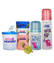 Small Wonder Combo of Feeding Bottle, 3 Feeding Glasses and Milk Powder Dispenser