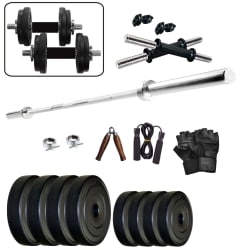 WOLPHY 25 KG HOME GYM SET WITH 3 FEET STRAIGHT ROD, Hand Grip, Gloves & Skipping Rope