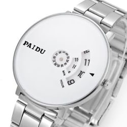 2017 new Unique Design White Color Dial Steel Strap Mens Wrist Watch .....!