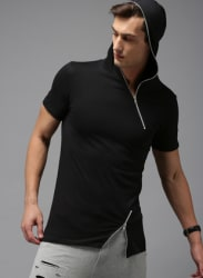 Black Solid Hooded T-Shirt