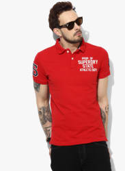 Red Embroidered Regular Fit Polo T-Shirt