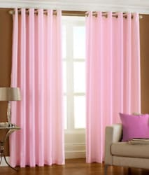 Homefab India Set of 2 Royal Silky Baby Pink Curtain with Metal Eyelets (HF045)