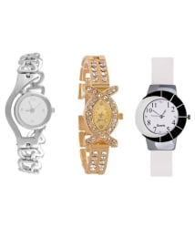 Maan International White,Gold & Silver Combo of 3 Watches For Girls