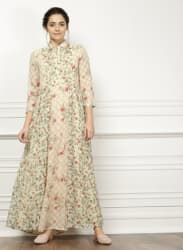 Cream Printed Maxi Dress