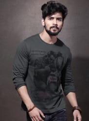 Charcoal Grey Printed Round Neck T-Shirt